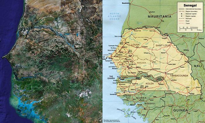 kaart afrika senegal